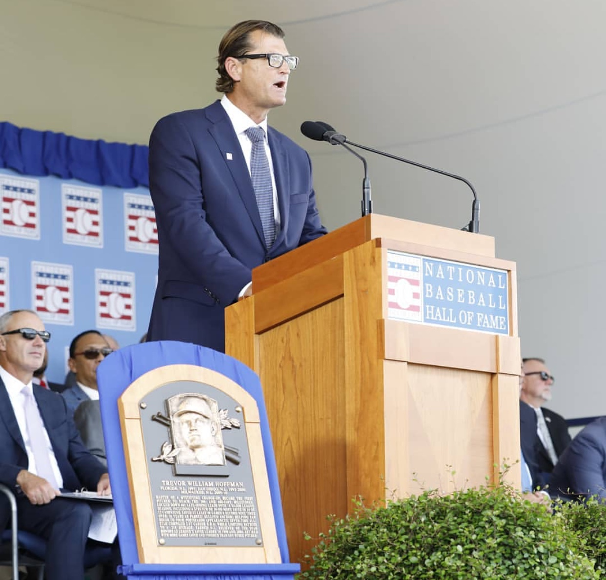 Trevor Hoffman gives much anticipated Hall of Fame speech in Cooperstown, NY with 53,000 fans in attendance.