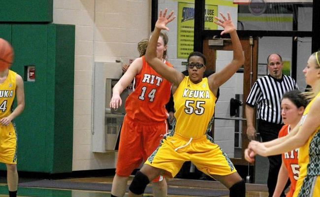 Sophomore Chinyere Ukwu snared eight rebounds and added four points, but the Keuka College women's basketball team fell to RIT Monday night (photo courtesy of Ed Webber, Keuka College Sports Information department).