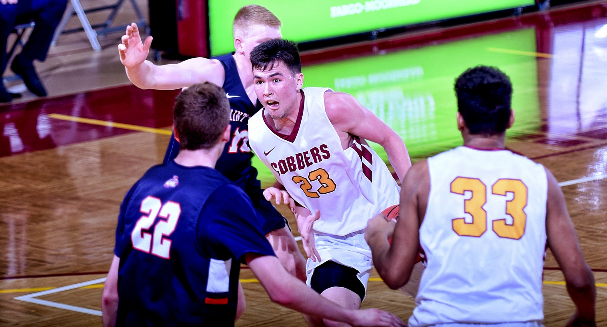 Senior Jordan Davis drives to the basket in the second half against St. Mary's for two of his team-high 18 points in the Cobbers' 67-60 win.