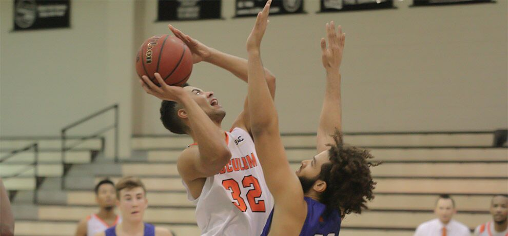 Elon Smallwood scored a season-high 16 points, including seven in the final minute as Tusculum falls 100-97 vs Barton (photo by James Spears V).