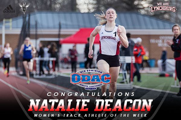 Natalie Deacon running on a track. Text: Congratulations Natalie Deacon ODAC women's track athlete of the week