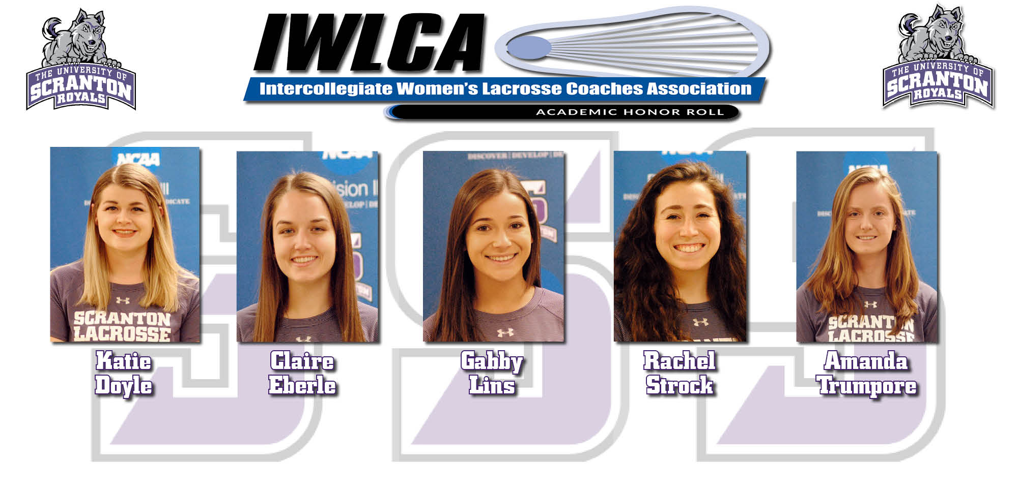 Katie Doyle, Claire Eberle, Gabby Lins, Rachel Strock, and Amanda Trumpore have been named to the IWLCA Academic Honor Roll.