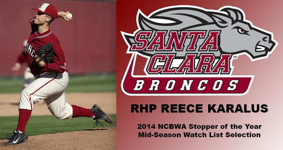 Reece Karalus Named to NCBWA Mid-Season Stopper of the Year Watch List