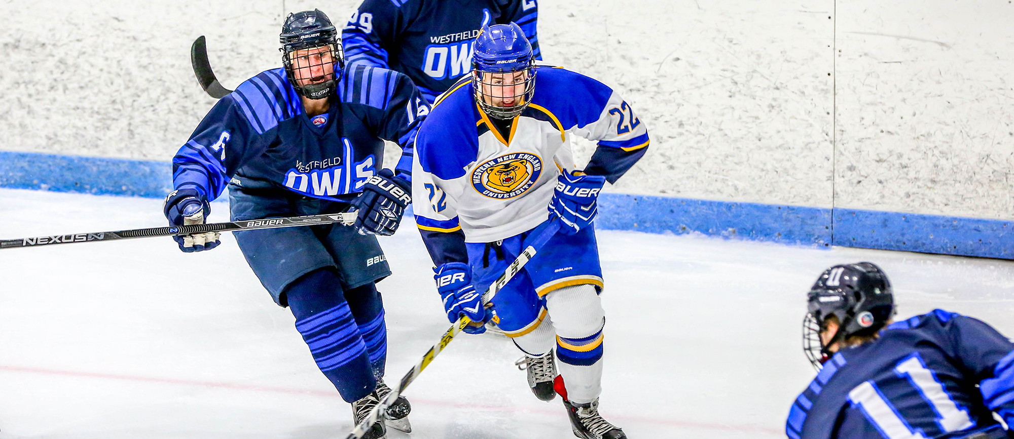 Junior forward Steve Beck factored into all three of Western New England's goals in the Golden Bears' 5-3 loss to Endicott on Friday night (photo by Geoff Riccio).