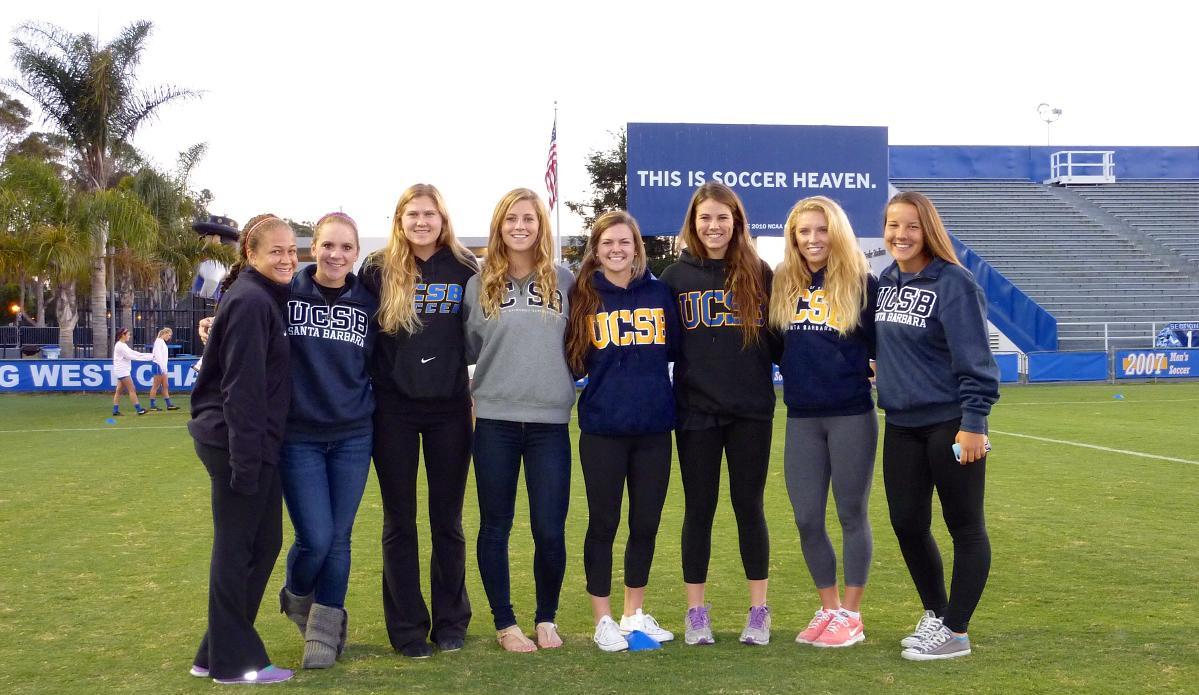UCSB's 2014 Recruiting Class: Left-to-Right: Brittney McKinney, Jordan Alves, Kate Shoemaker, Chace Schornstein, Remi White, Hannah Frogge, Amanda Ball, Brittney Rogers. Not pictured: Zoe Purcell