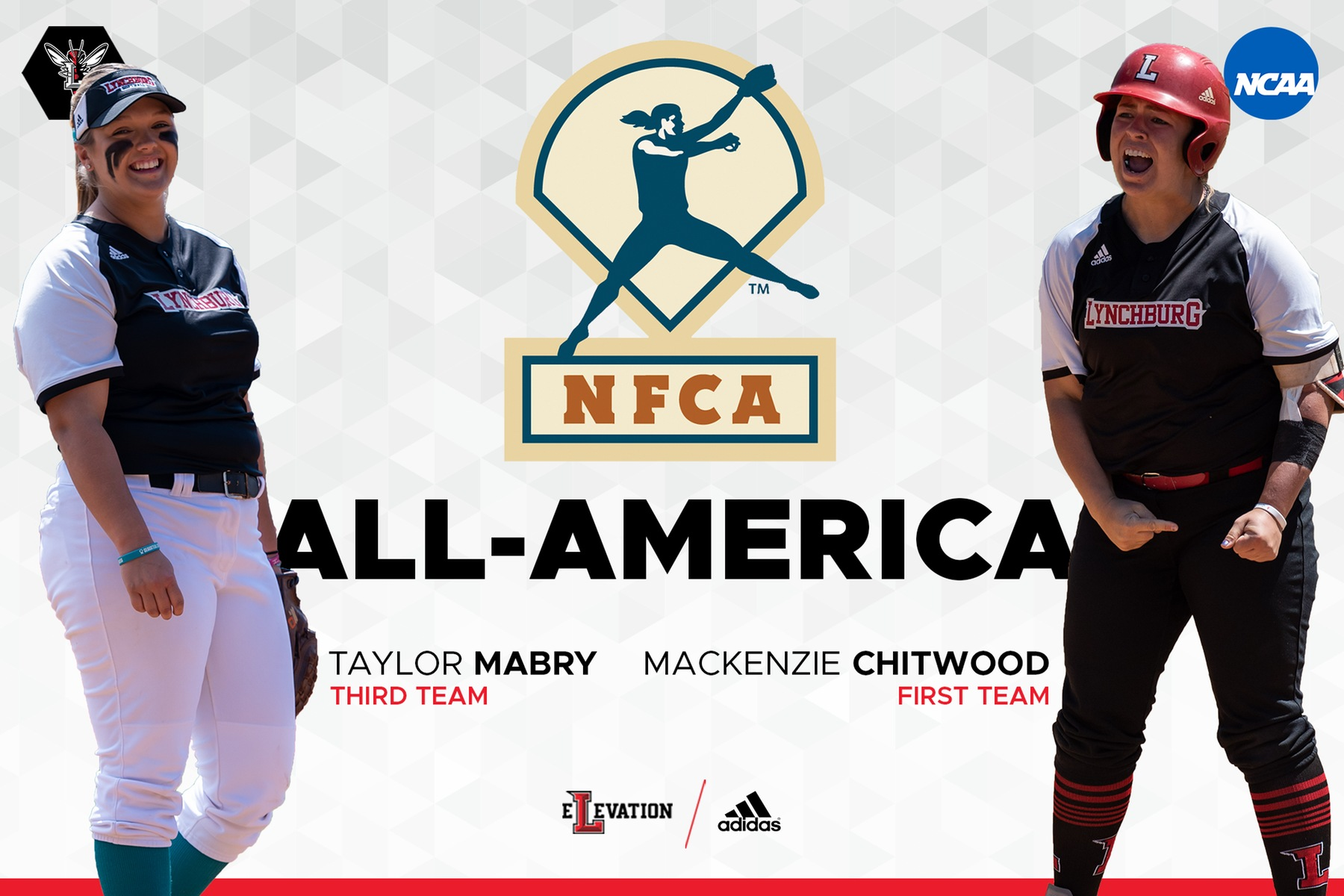 Cutout images of Taylor Mabry and Mackenzie Chitwood on white background with NFCA logo and black text, All-America