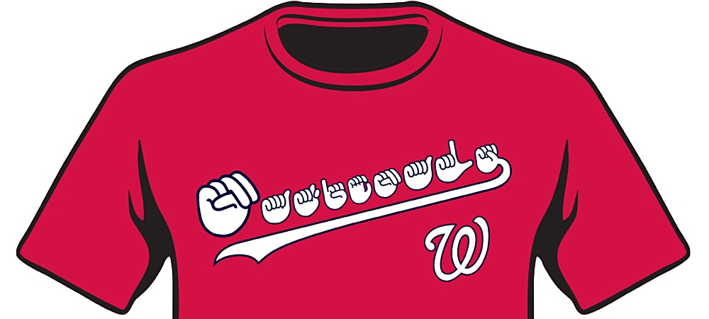 Washington Nationals red t-shirt with the word Nationals spelled out in ASL