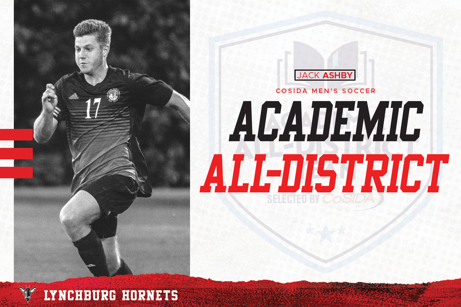 White and red Academic All-District graphic with Ashby playing soccer image in grayscale at left