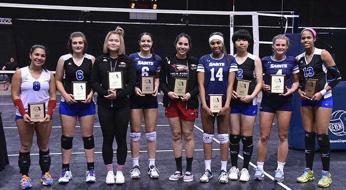 Phoebe Wu (third from left) and Kathya Garcia (fifth from left) were named to the All-Tournament Team at the 2016 state volleyball tournament. (Photo by Tom Hagerty, Polk State.)