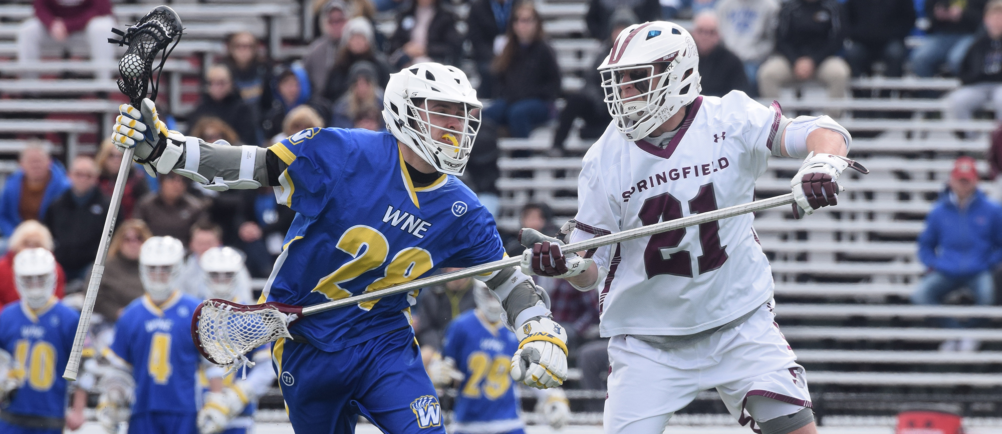 Springfield limited Western New England to one goal over the second and third quarters as the Golden Bears fell to the Pride 11-7 on Saturday. (Photo by Rachael Margossian)