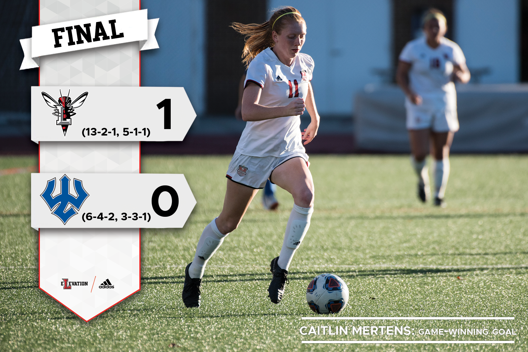 Caitlin Mertens dribbling the soccer ball. Graphic showing 1-0 final score.