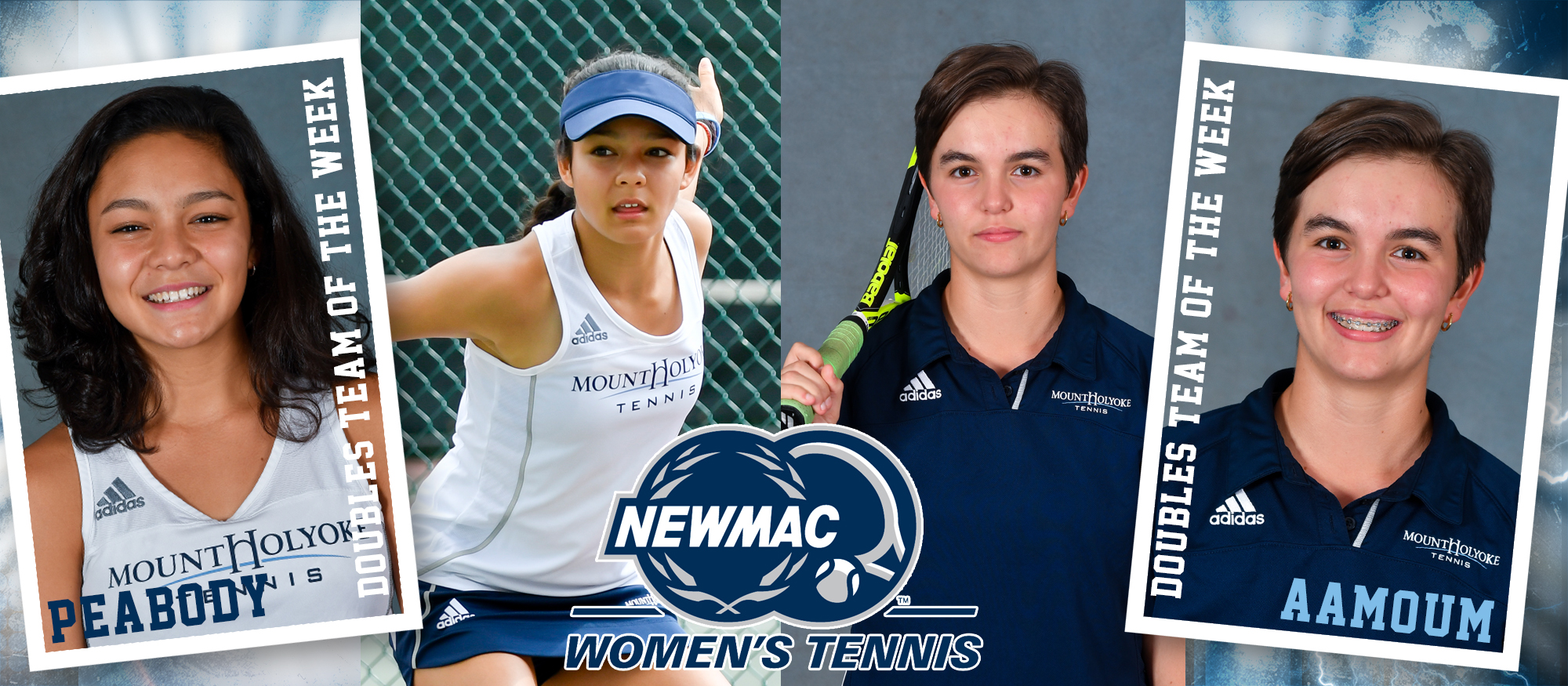 Photo featuring Lyons tennis players Catherine Peabody (left) and Annissa Aamoum (right) for being named NEWMAC Doubles Team of the Week on Mar. 18th, 2019.