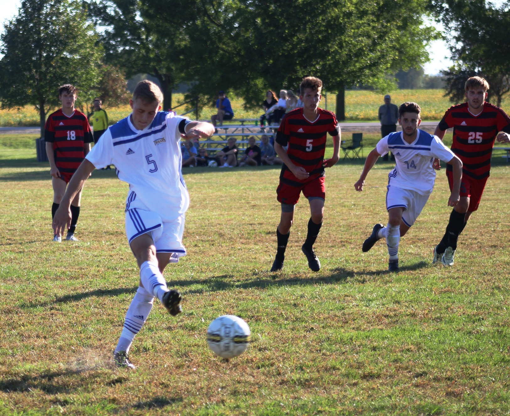 NIACC's Harry Holland scores on a second-half penalty kick in Wednesday's match against Northeast CC.
