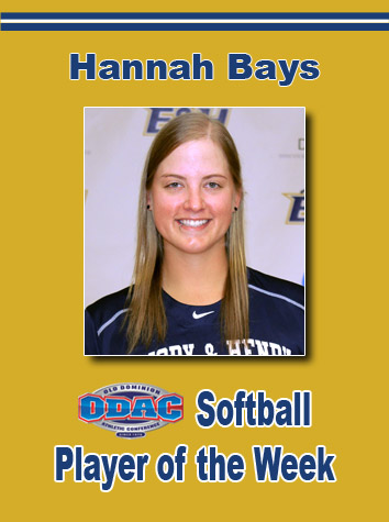 Hannah Bays Named ODAC Softball Player Of The Week
