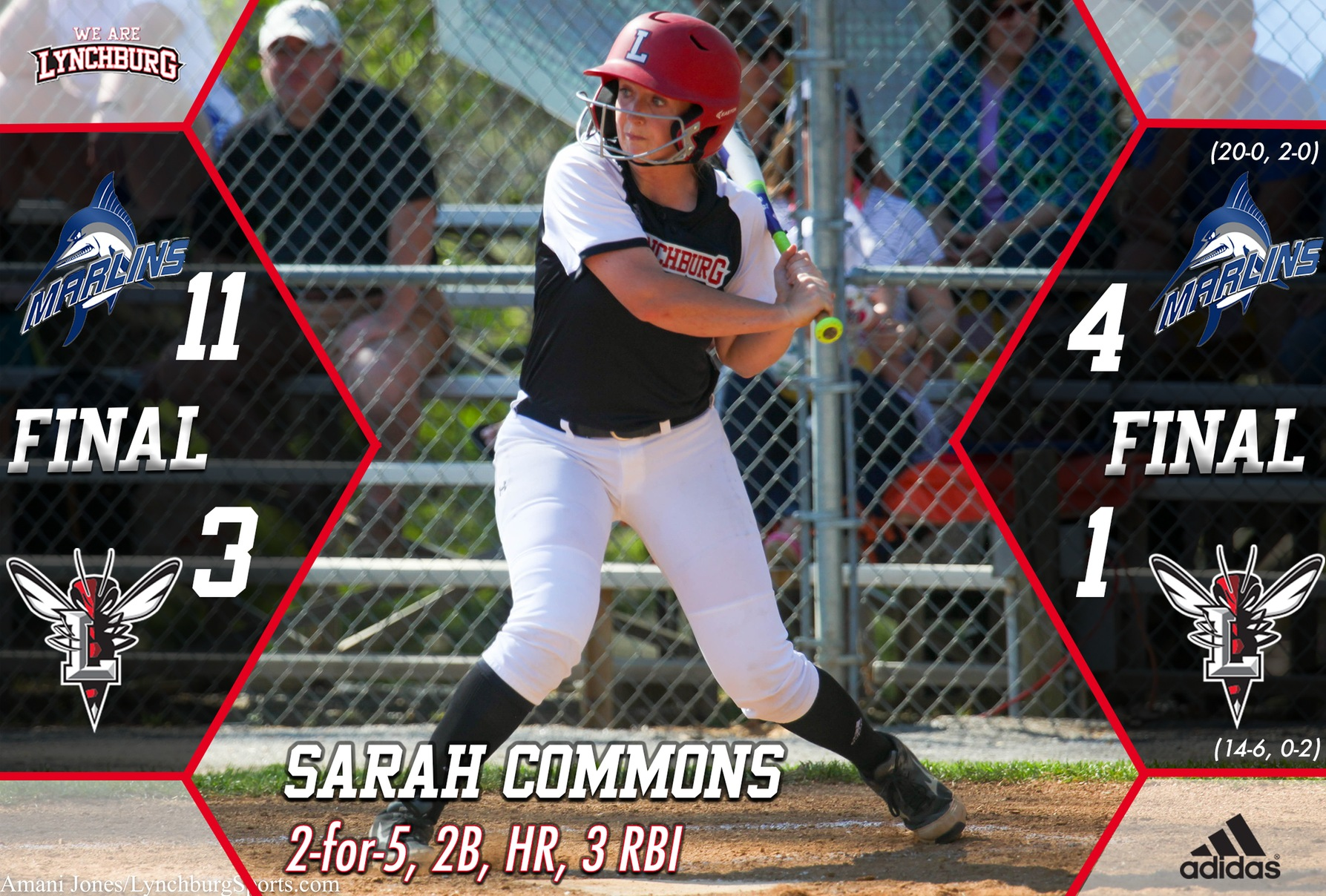 Sarah Commons at bat. Text: Sarah Commons, 2-for-5, 2B, HR, 3 RBI