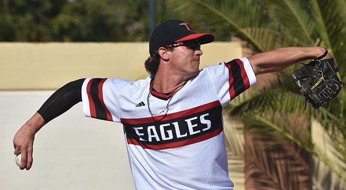 Jordan Spicer held the Manatees to two hits and no runs in seven innings as the Eagles won 4-0. (Photo by Tom Hagerty, Polk State.)