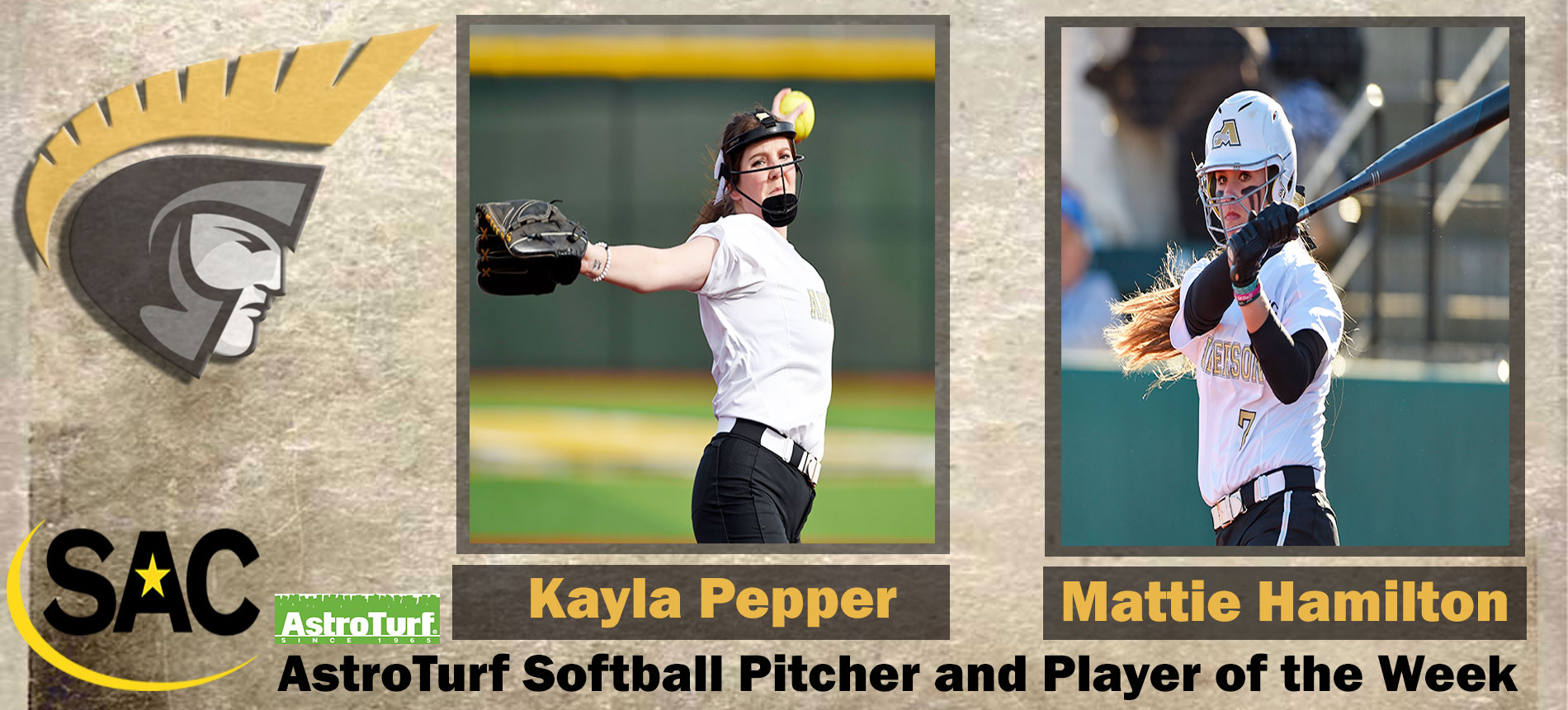 Hamilton and Pepper Earn SAC AstroTurf Softball Player of the Week