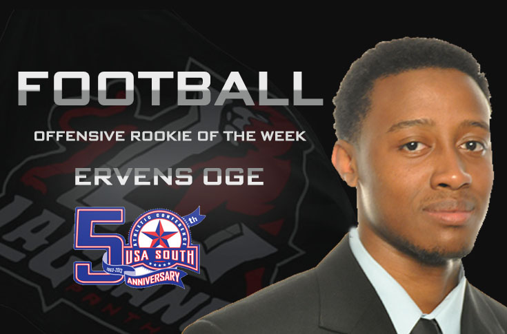 Football: Ervens Oge earns second USA South Rookie of the Week award