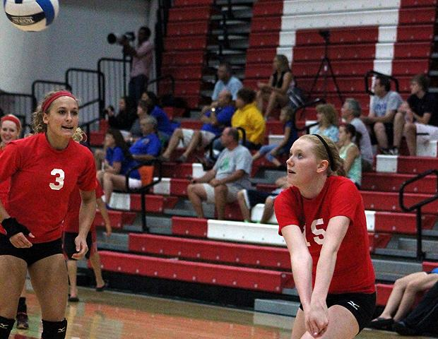 Sara Turner-Smith, pictured here on the right, tied for the team-high in kills (7) today. Photo by Nicholas Huenefeld/Owens Sports Information