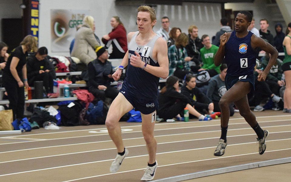 Senior Greg Jaindl runs during the Moravian Indoor Meet competed at Lehigh University's Rauch Field House.