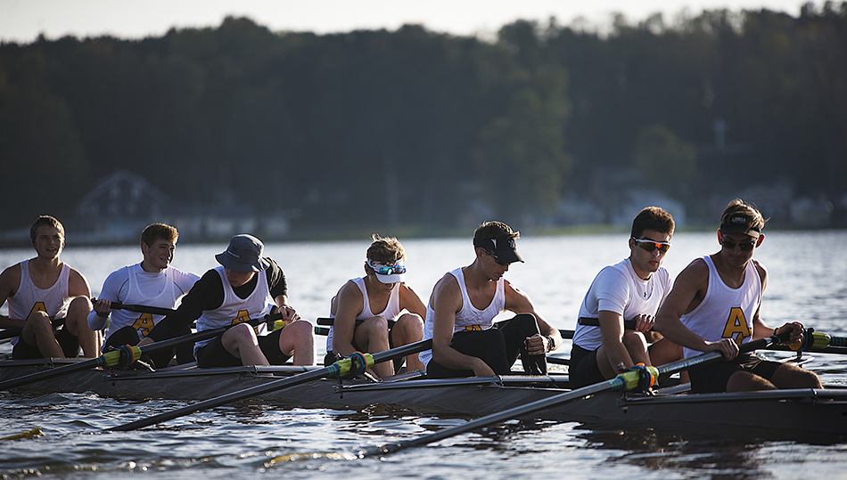 The Adrian College men's rowing team found success as a first-year program in the fall, and look forward to more when the season resumes in the spring. (Action photo by Hollie Smith)