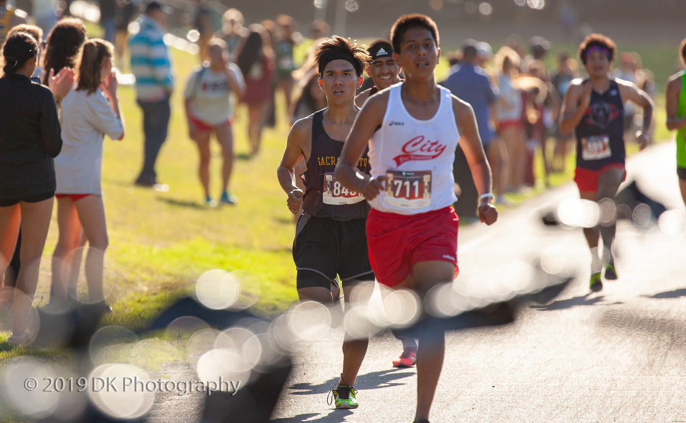 Xavier Venegas, City College sophomore crosses the finish line at the Lou Vasquez Invite at Golden Gate Park on Sept. 19th.