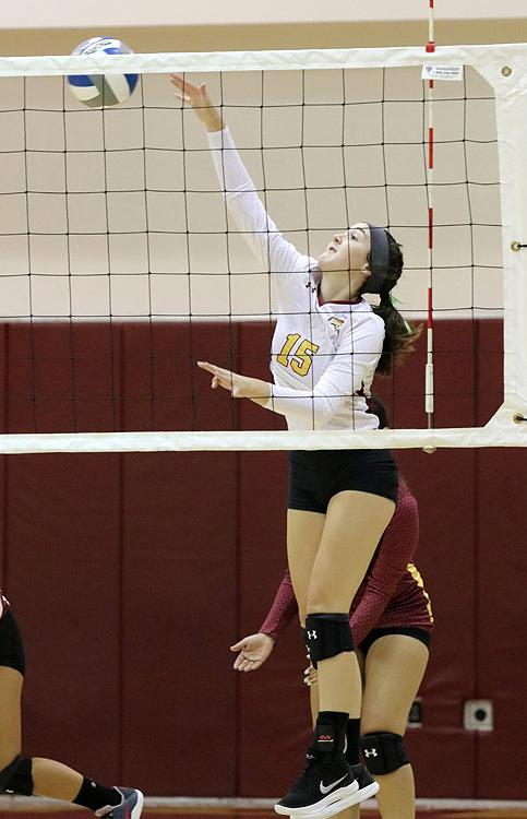 Janell Currier was on fire against Cypress when she hit 20 kills in PCC's victory on Friday.