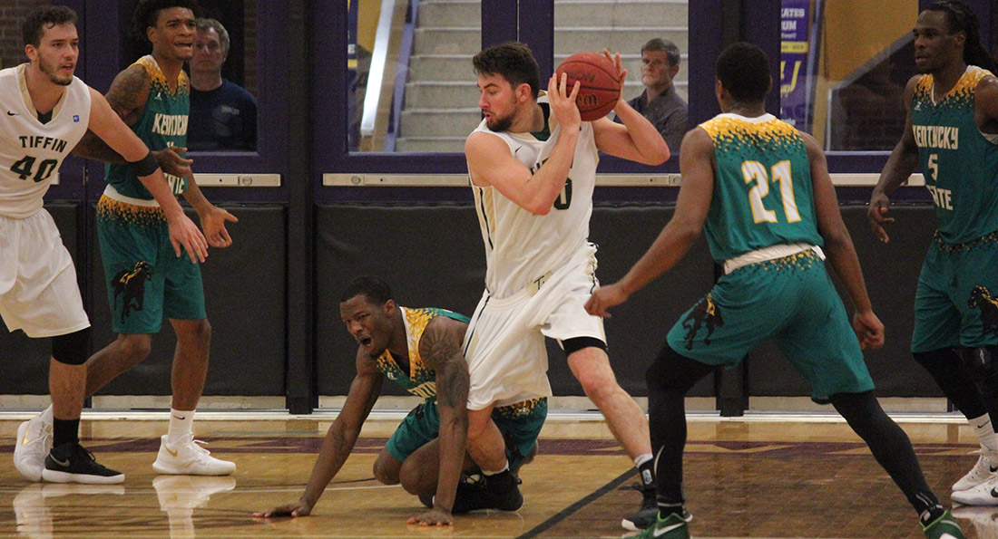 Austin Adams led the Dragons with a double-double against the Thorobreds, posting 29 points and 11 rebounds.