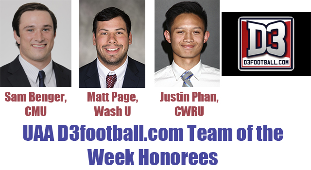 Three UAA Student-Athletes Named to D3football.com Team of the Week
