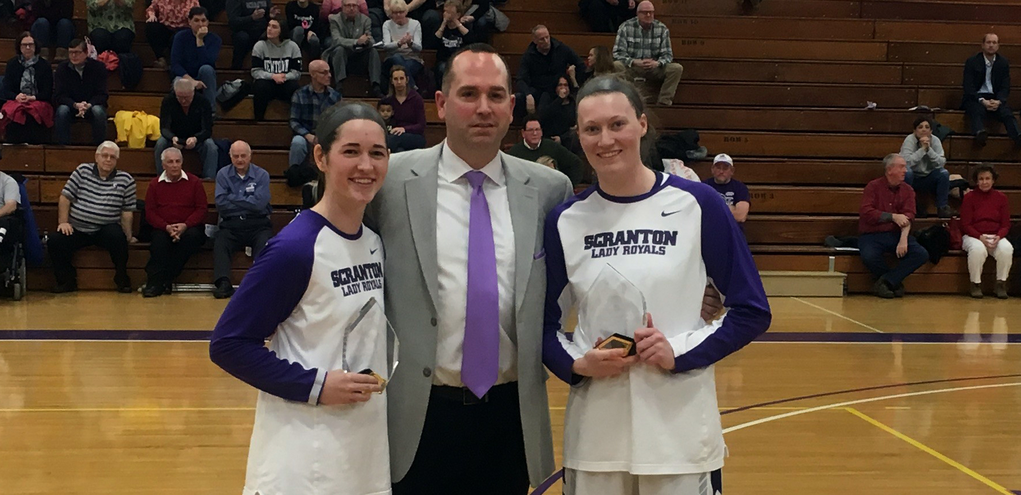 Senior Katie Broderick and Katie Feehery were honored prior to Saturday's win over Catholic.