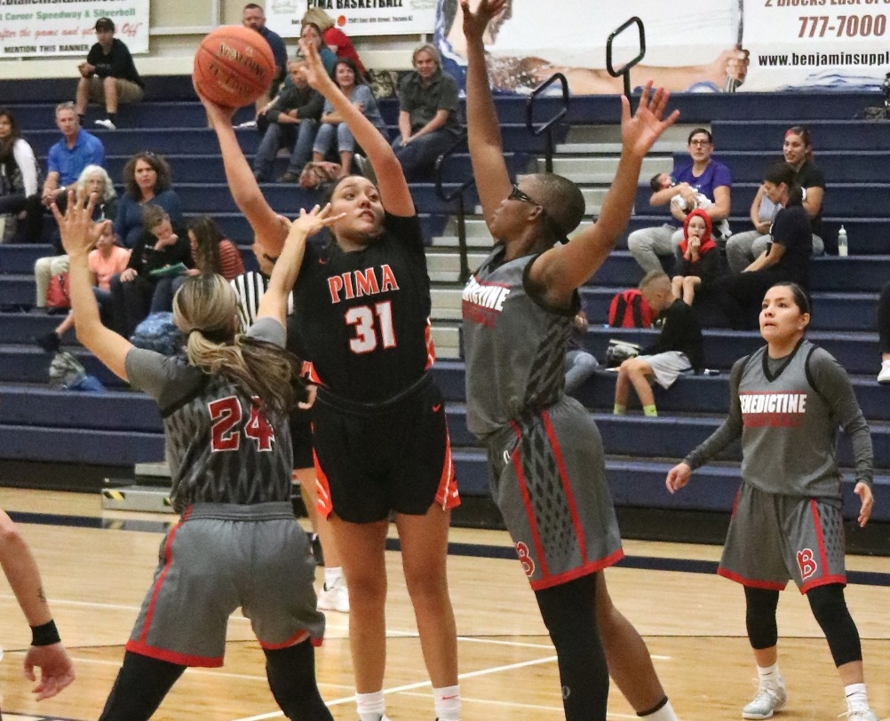 Sophomore Shauna Bribiescas (Dobson HS) had a double-double of 19 points and 11 rebounds on 8 for 9 shooting as the Aztecs women's basketball beat Grand Canyon University Club 91-62 to open the regular season. Photo by Stephanie Van Latum