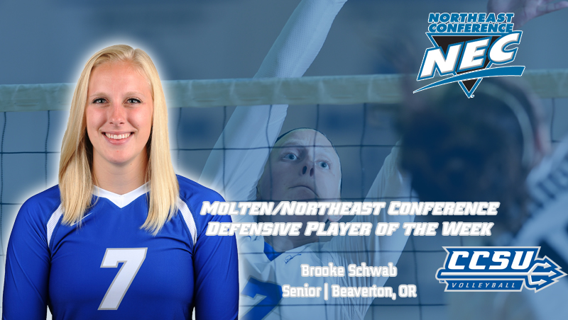 Schwab Named Molten/NEC Defensive Player of the Week