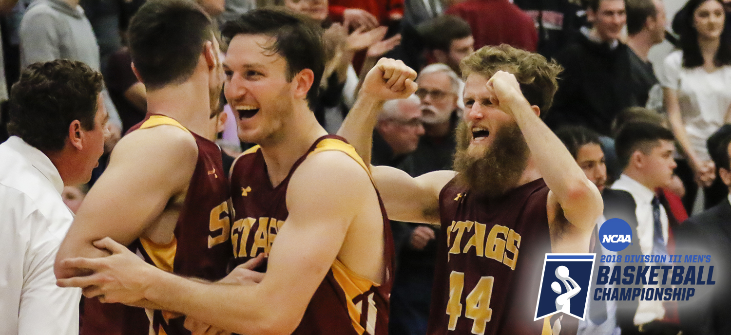 Jack Ely (L) and Michael Scarlett (R) celebrate the Stags advancing to the Second Round (photo credit: Whitman Athletics)
