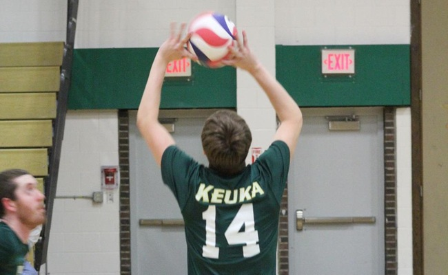 Chris Corcoran (14) had a combined 66 assists for Keuka College on Saturday