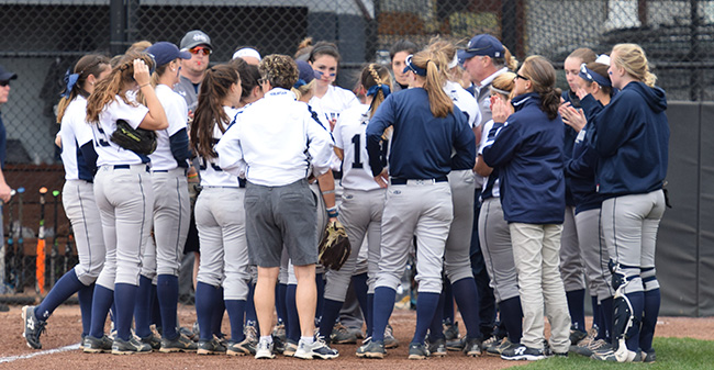 The Greyhounds huddle between innings of a doubleheader versus rival Muhlenberg College in 2017.