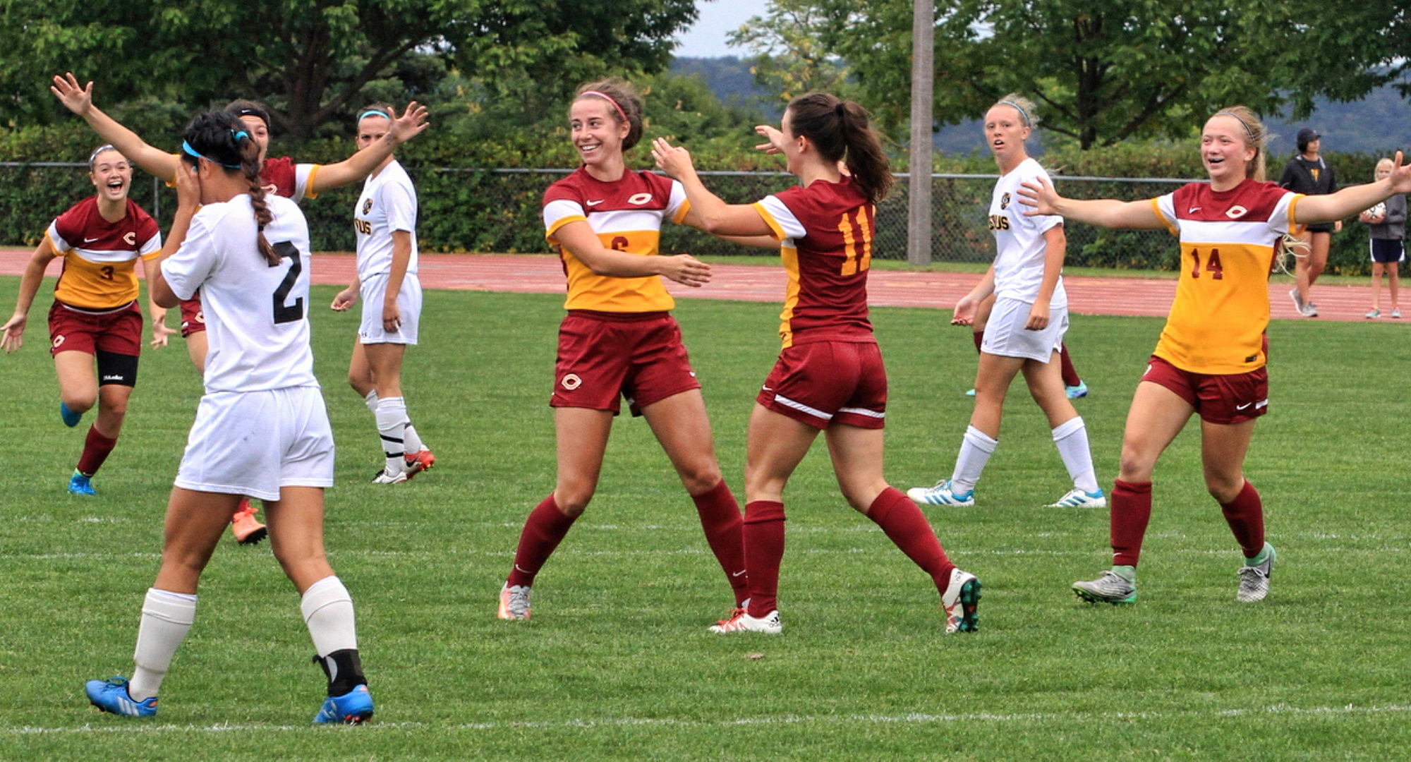 Concordia celebrates the early second-half goal by #11 Karsen Granning. (Photo courtesy of Todd Osmundson)