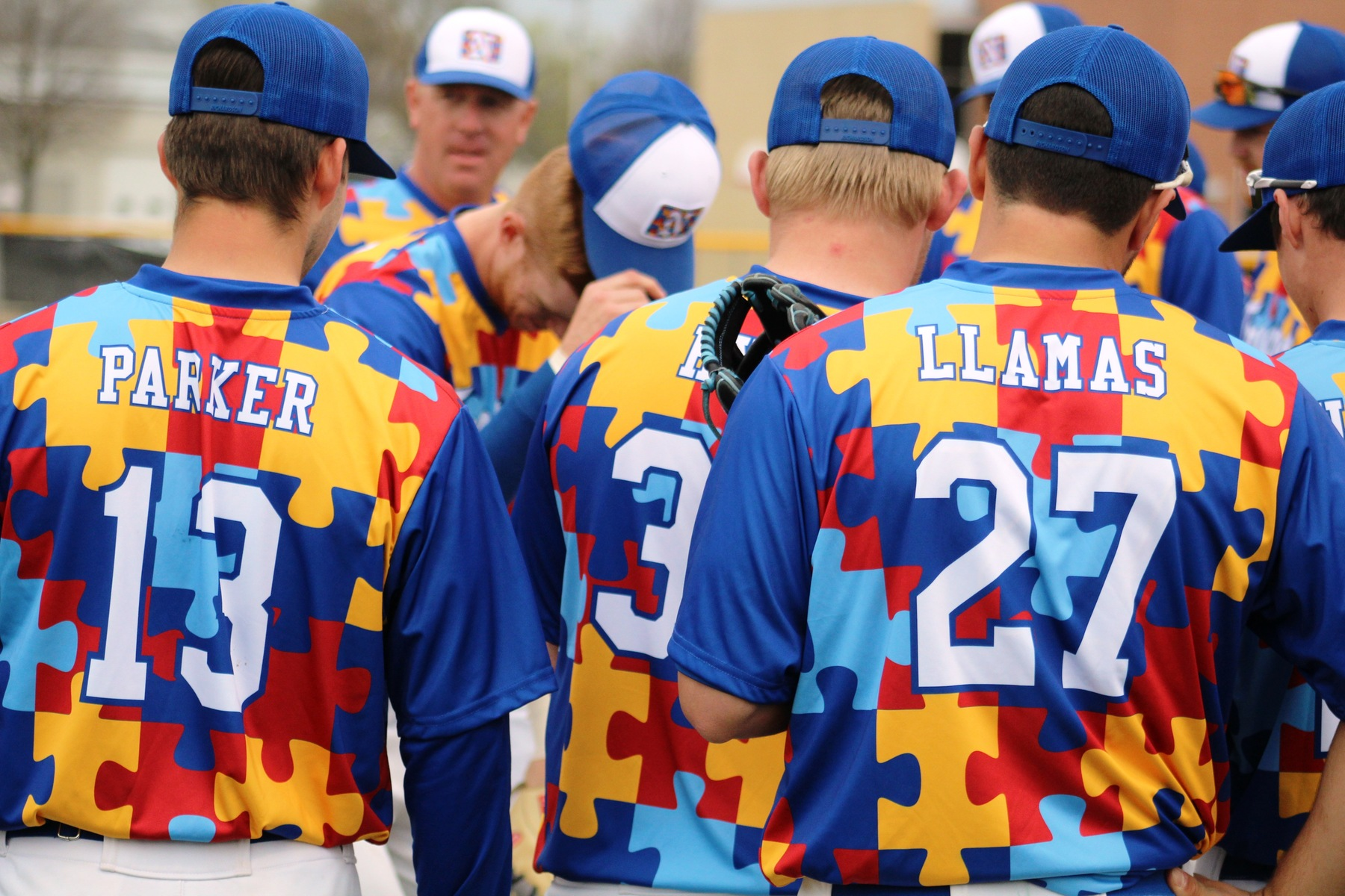 The NIACC baseball team gets ready for Monday's Autism Awareness game at Roosevelt Field on Monday.