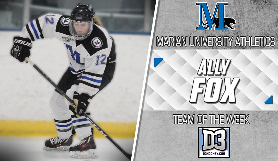 Ally Fox D3Hockey.com Team of the Week graphic.