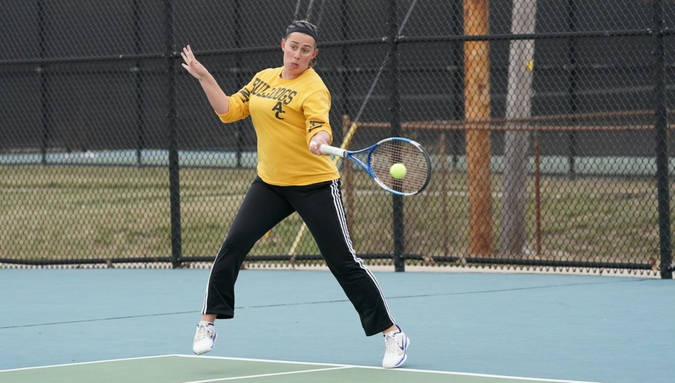 Junior Sam Cyrus picked up wins in the top doubles and singles flight in Adrian's 7-2 win over Alma on Wednesday (Photo by Mike Dickie).