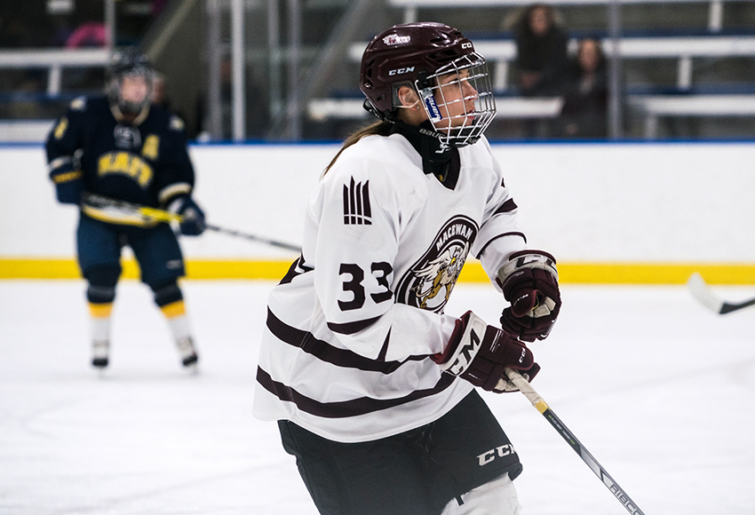 Shyla Jans has three goals in four games so far this season. She'll lead MacEwan against cross-town rival NAIT in a pair of games this weekend (Matthew Jacula photo).