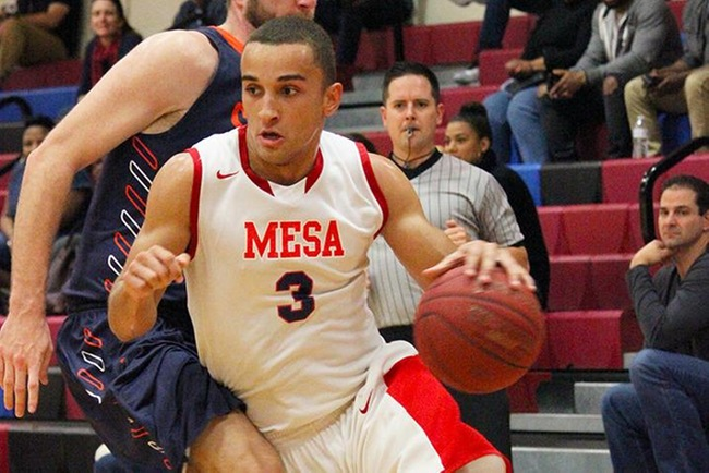 Michael Vos-Otin scored the final points for Mesa to beat Pima, 94-93, in overtime. (photo by Aaron Webster)