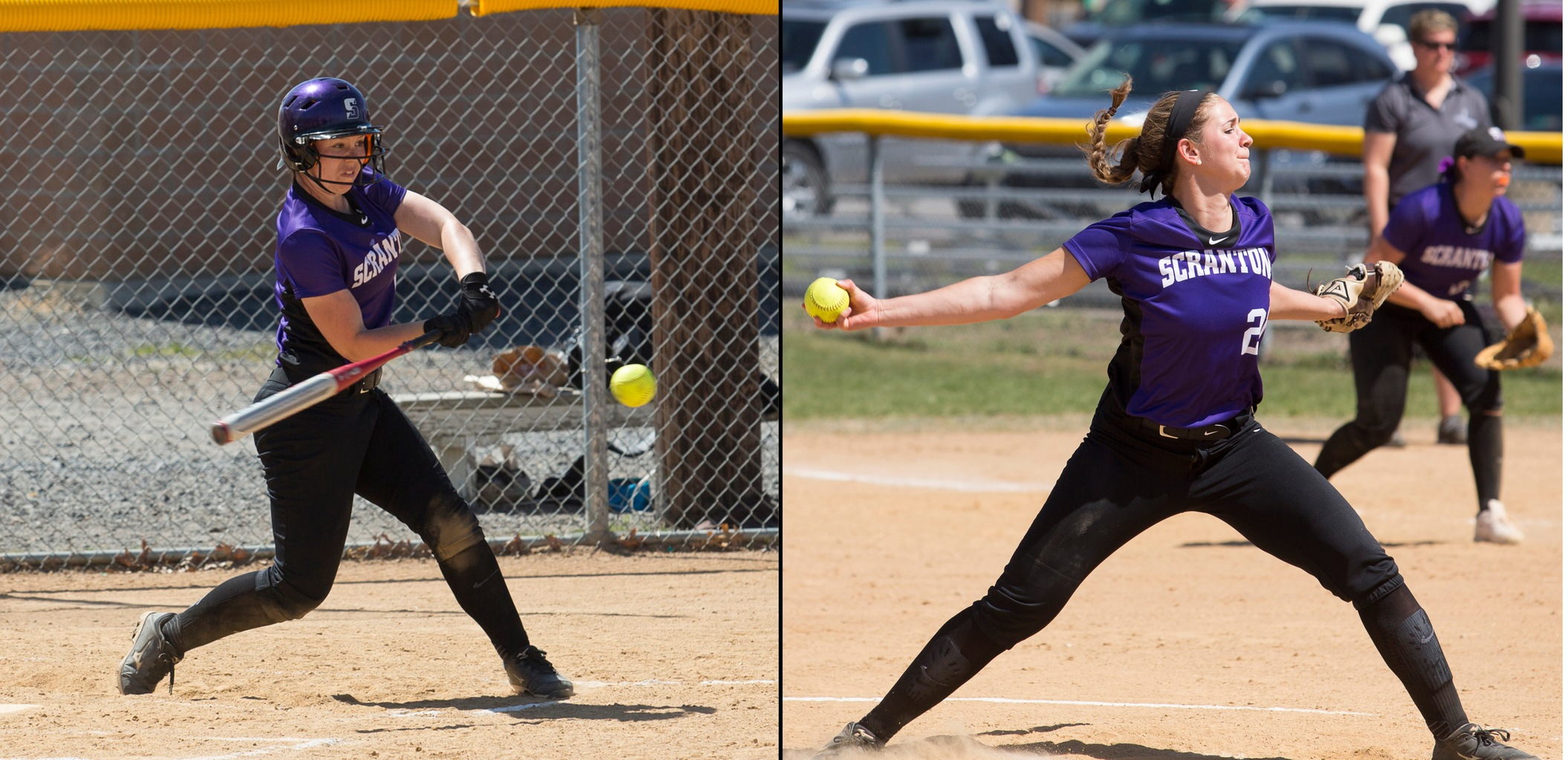 Shannon Stricker (left) was named the Landmark Conference's softball Athlete of the Week for the fourth time in her career on Monday, while Morgan Renzheimer (right) earned Landmark Pitcher of the Week honors.