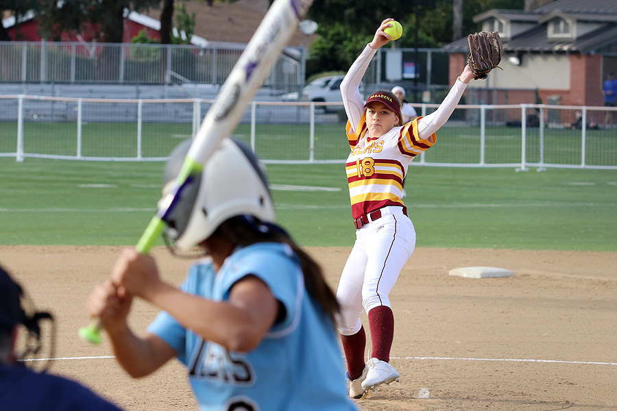 Angel Wintercorn hurls a pitch in her first collegiate start on Tuesday at Robinson Park, photo by Richard Quinton.