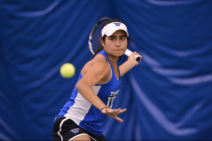 Korina Hernandez (pictured) and Abigail Schleichkorn earned the first victory of the match at No. 3 Doubles (Gil Talbot).