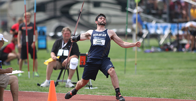 Robert Condo '18 competes in the javelin at the 2018 NCAA Division III National Championships in La Crosse, Wisconsin. Photo by D3photography.com