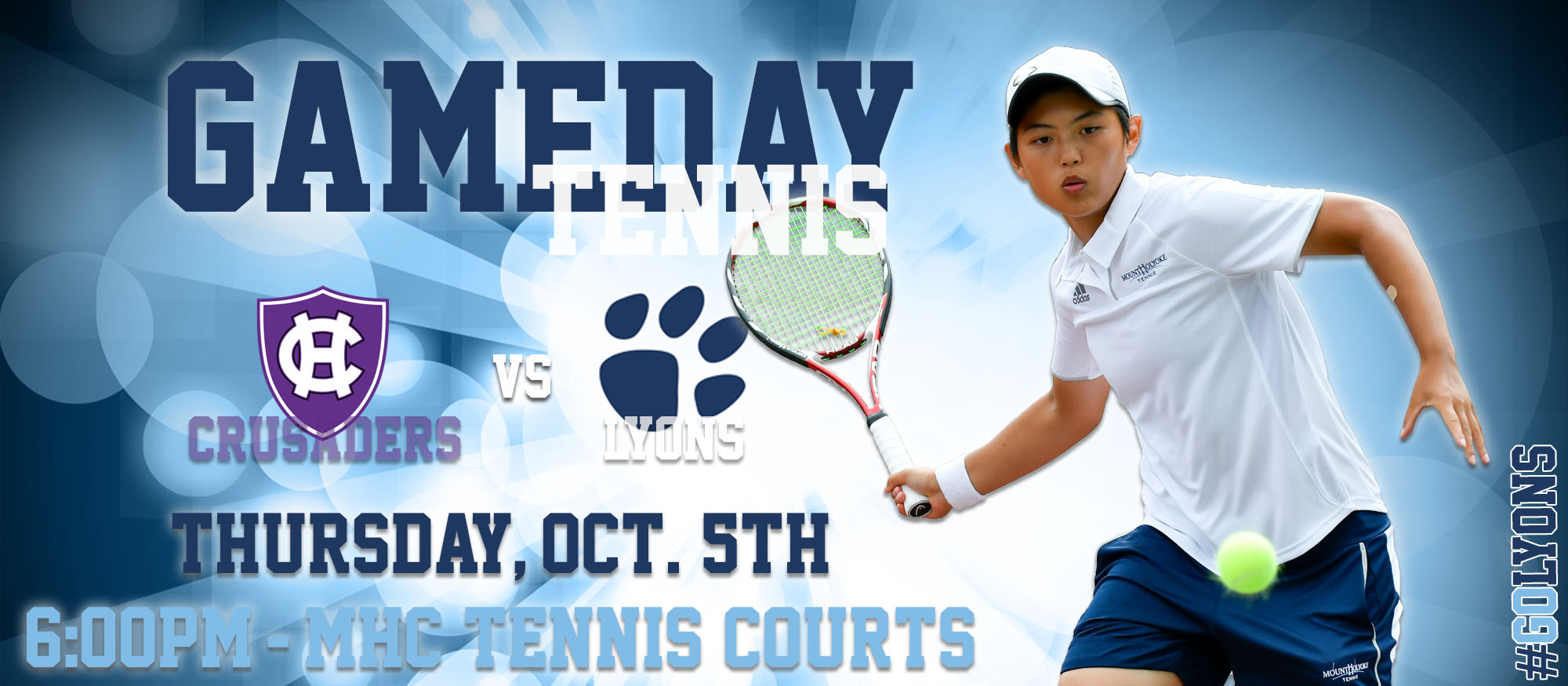 Gameday graphic promoting Thursday, October 5th tennis home match against Holy Cross at 6pm.