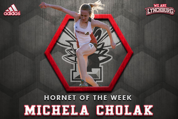 Michela Cholak jumping in the steeplechase. Text: Hornet of the Week Michela Cholak