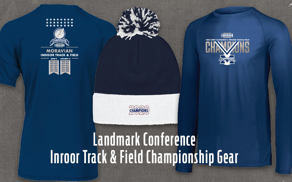 Landmark Conference indoor track & field championship gear.