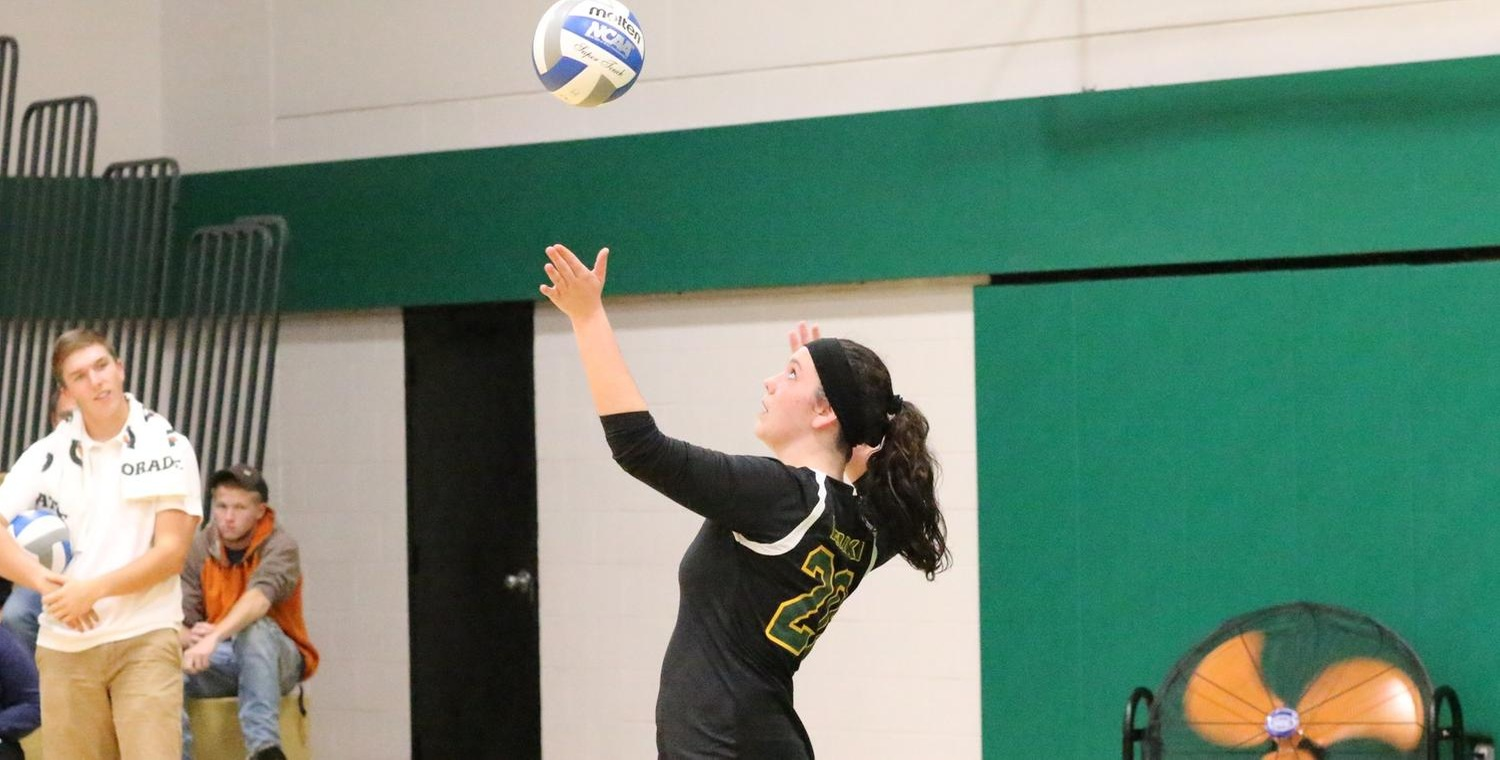 Lauren Moelbert (20) had a pair of aces to go with her team-high 10 kills on Tuesday -- Photo by Ed Webber