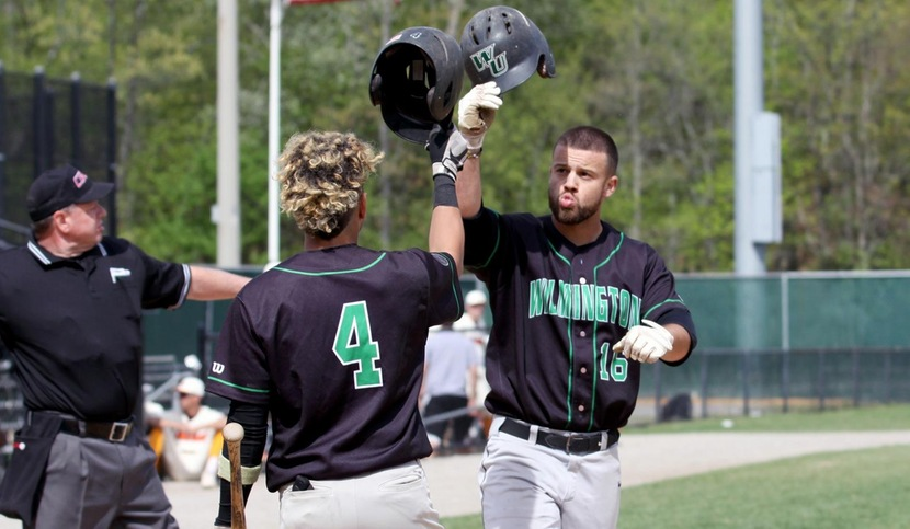 Copyright 2018; Wilmington University. All rights reserved. Photo of Brooks Ryan following his leadoff home run against Post on Friday. Photo by Dan Lauletta. May 11, 2018 vs. Post in 2018 CACC Tournament.